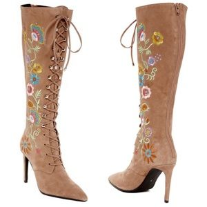Jeffrey Campbell Arabella Embroidered Boot Suede